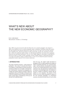 WHAT`S NEW ABOUT THE NEW ECONOMIC GEOGRAPHY?