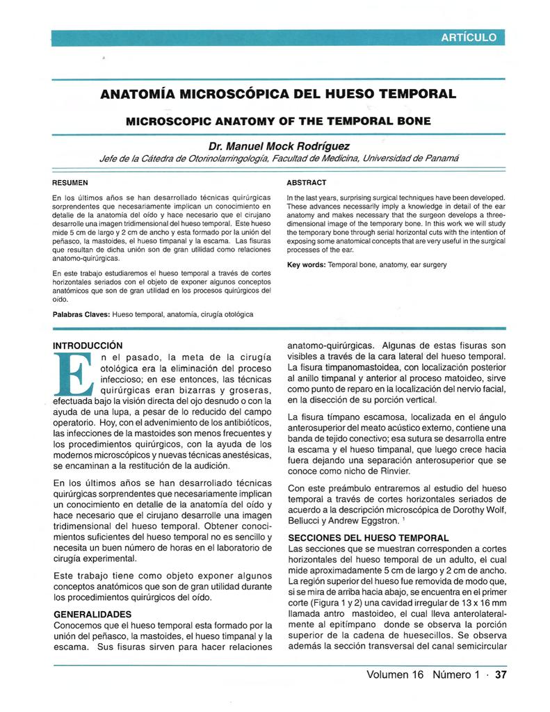 ANATOMíA MICROSCÓPICA DEL HUESO TEMPORAL