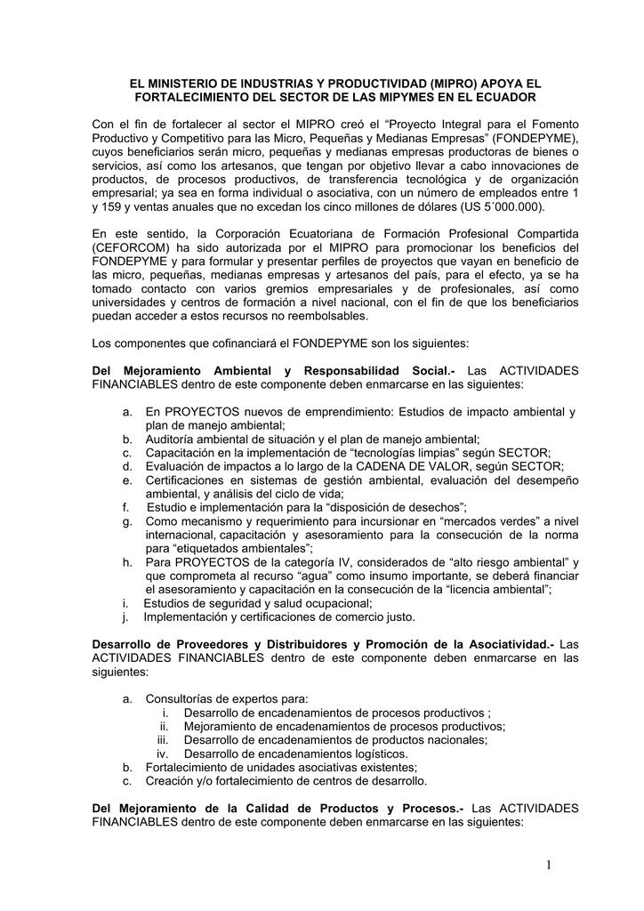 EL MINISTERIO DE INDUSTRIAS Y PRODUCTIVIDAD (MIPRO
