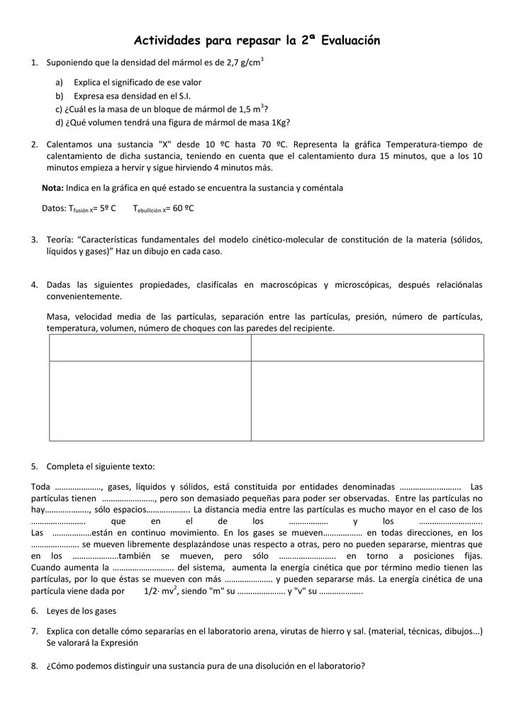 Actividades Para Repasar La 2ª Evaluacion