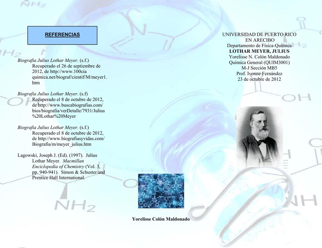 biografia julius lothar meyer sf recuperado el 26 de septiembre - Tabla Periodica Julius Lothar Meyer