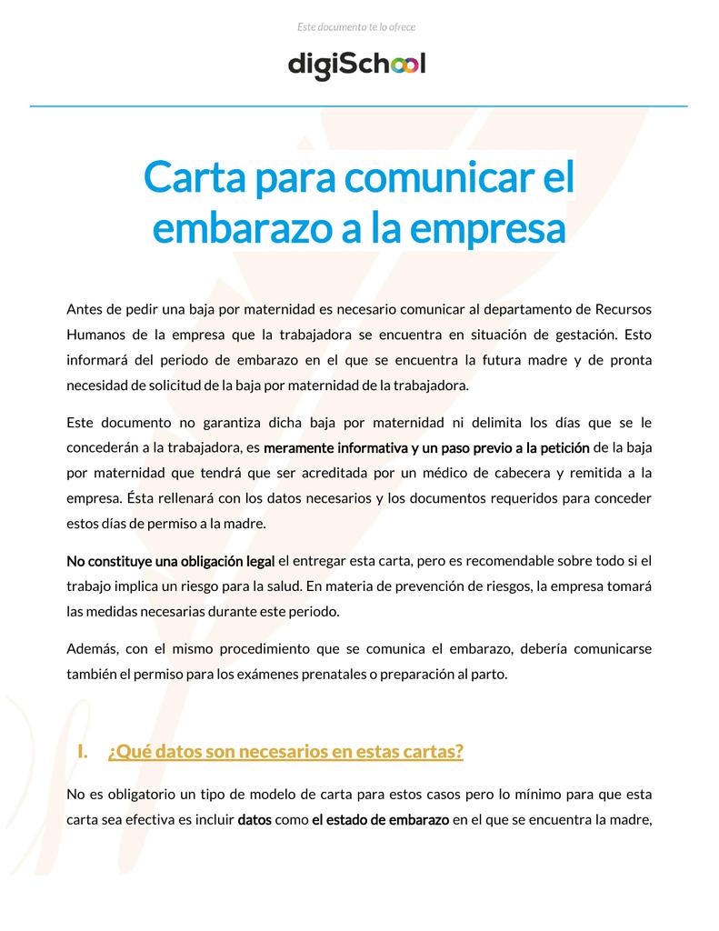 f5da7d7dd Carta para comunicar el embarazo a la empresa Antes de pedir una baja por  maternidad es necesario comunicar al departamento de Recursos Humanos de la  ...
