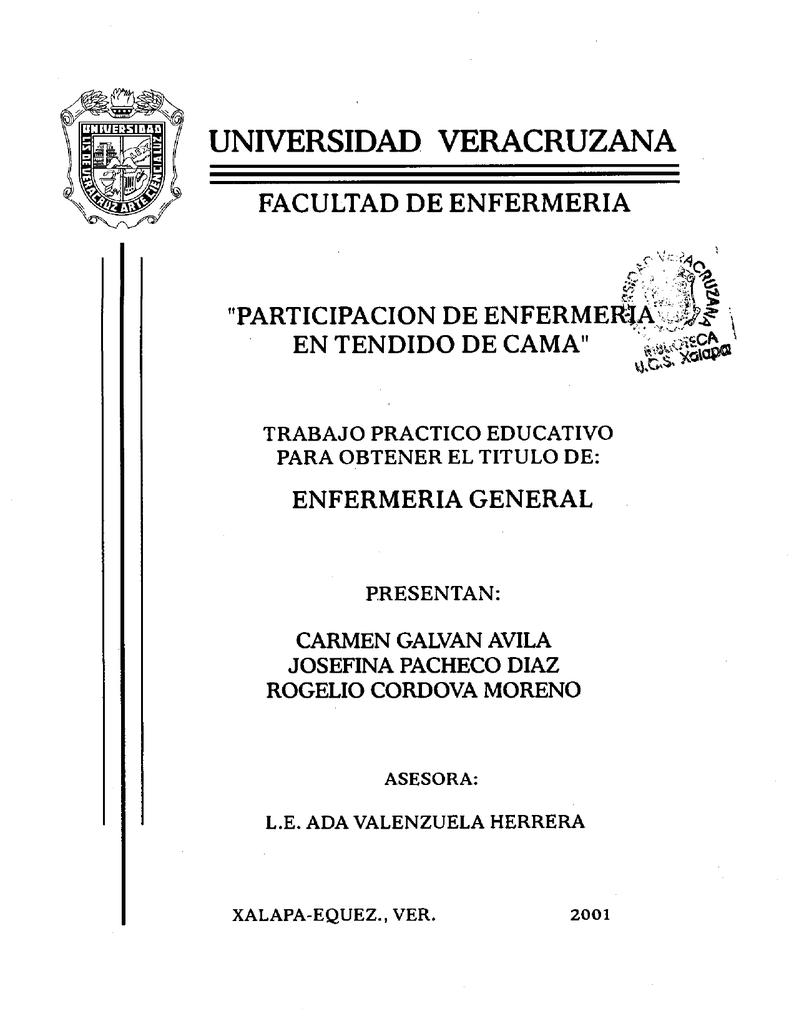 PARTICIPACION DE ENFEKMEfM^mg EN TENDIDO DE CAMA