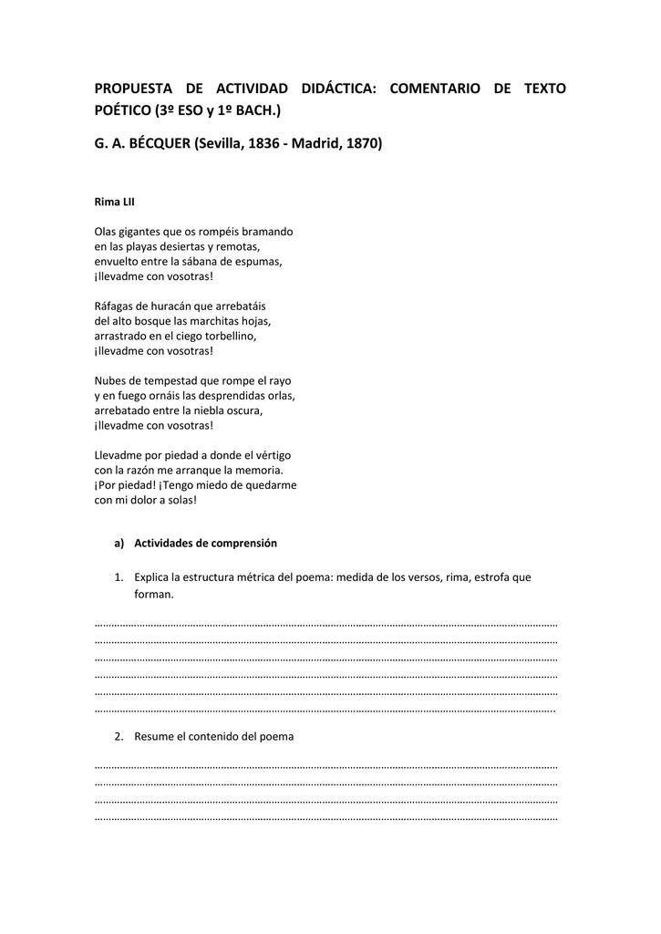 Comentario De Texto Poético 3º Eso Y 1º Bach