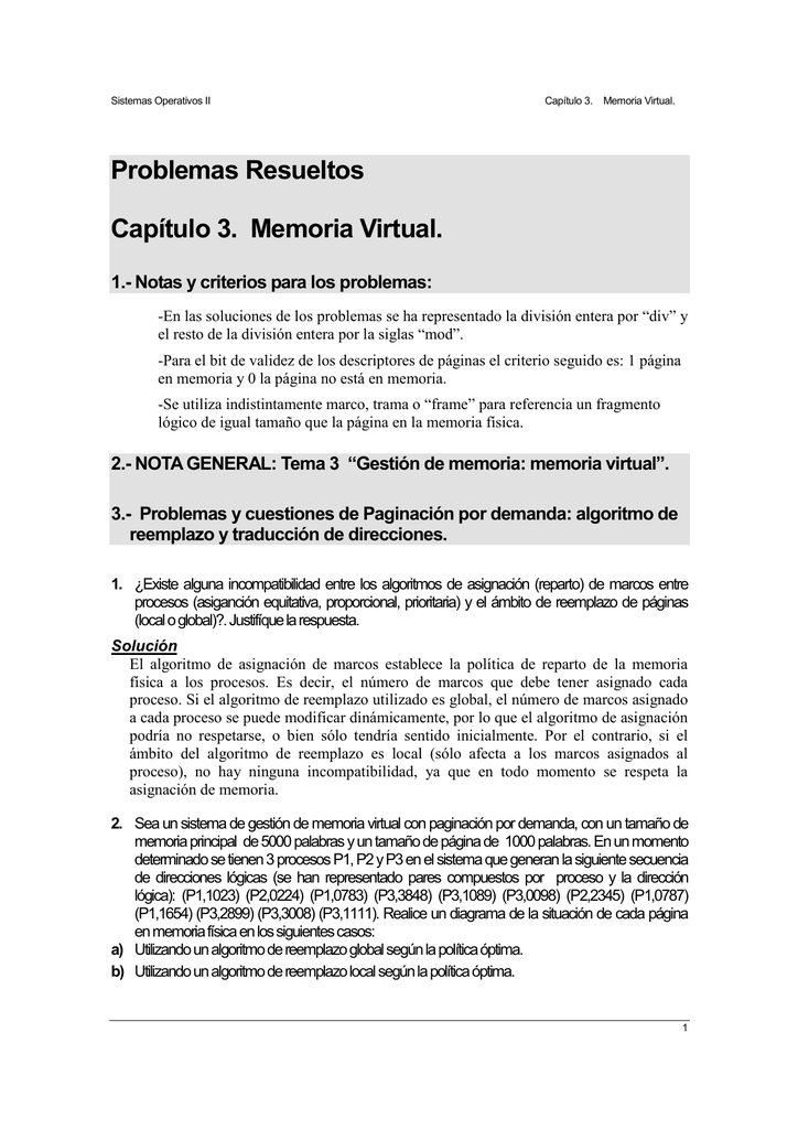 Problemas Resueltos Capítulo 3. Memoria Virtual.