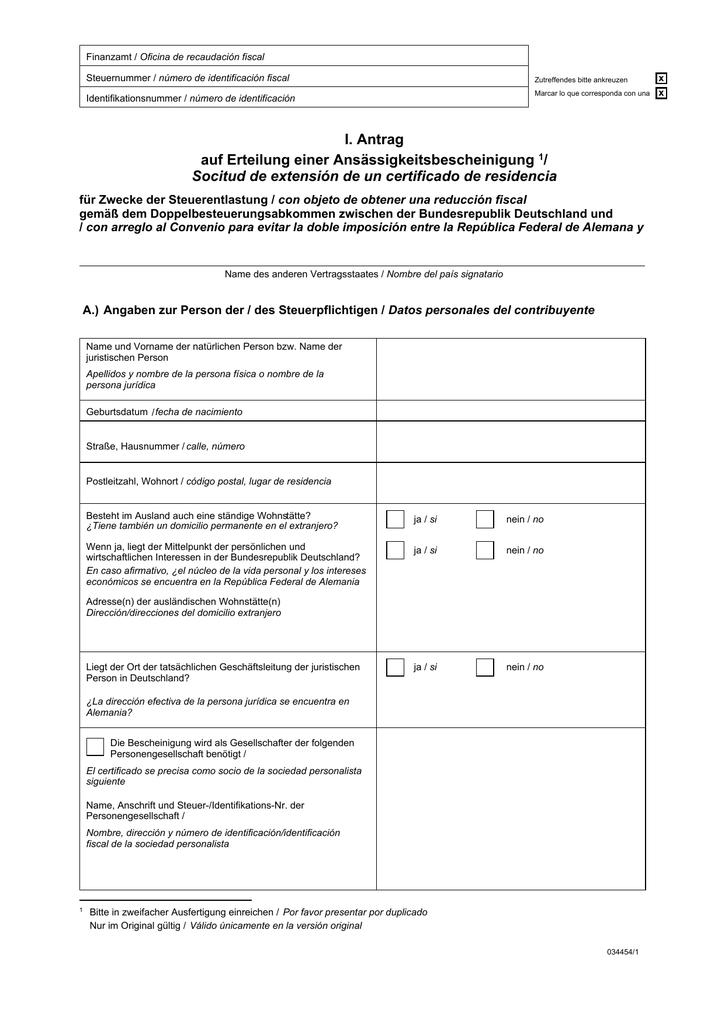 certificado de residencia fiscal alemán