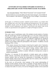 attitudes of teachers towards statistics: a preliminary study