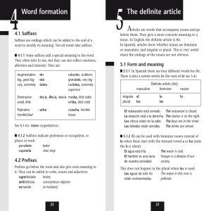 The definite article Word formation