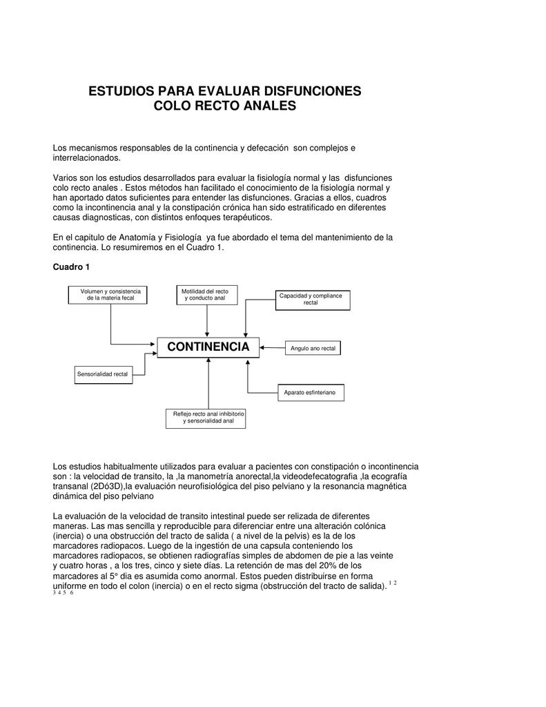 Estudios para evaluar disfunciones colo recto anales