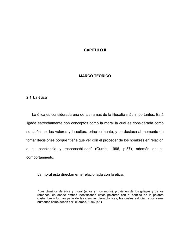 CAPÍTULO II MARCO TEÓRICO 2.1 La ética La ética es