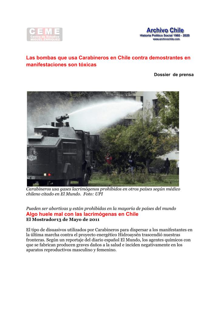 Las bombas que usa Carabineros en Chile contra