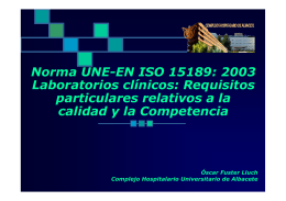 Norma UNE-EN ISO 15189: 2003 Laboratorios clínicos: Requisitos