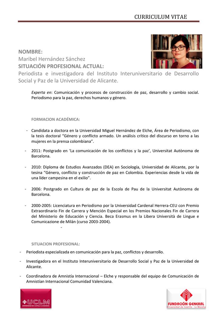 Curriculum Vitae Universidad De Castilla