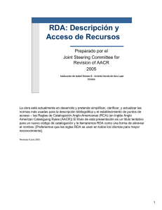 RDA - Resource Description and Access, July 2005, Spanish