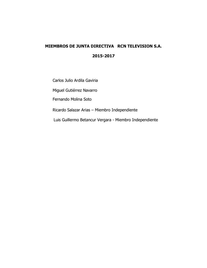 MIEMBROS DE JUNTA DIRECTIVA RCN TELEVISION S A  2015