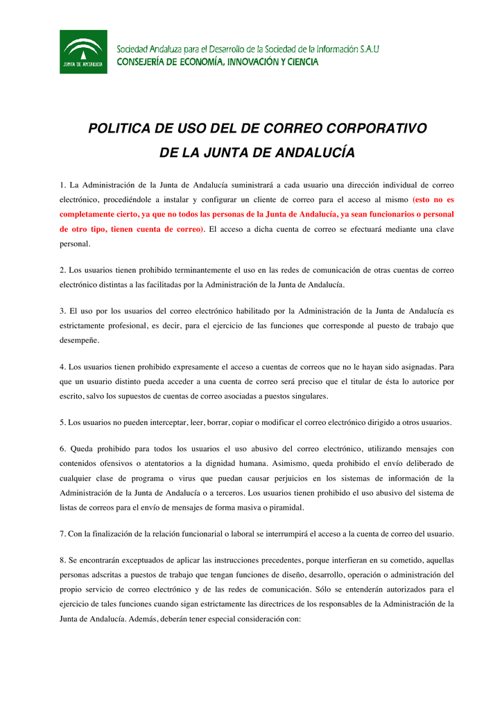 Politica Del Correo Corporativo De La Junta De Andalucia