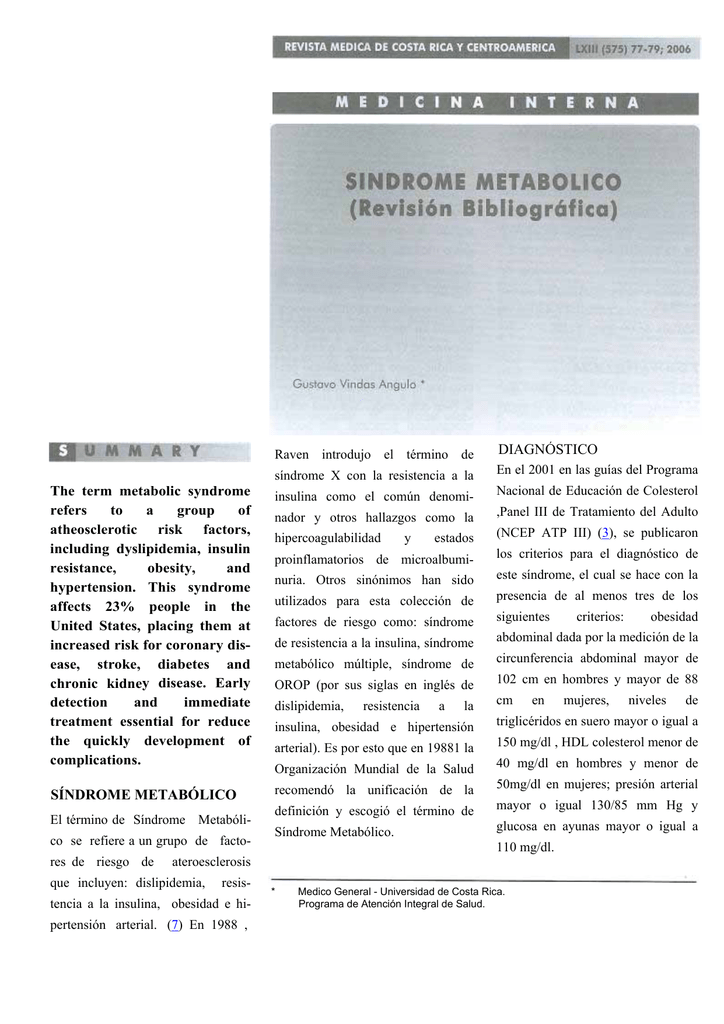 las revistas sobre el síndrome metabólico de la diabetes y la obesidad