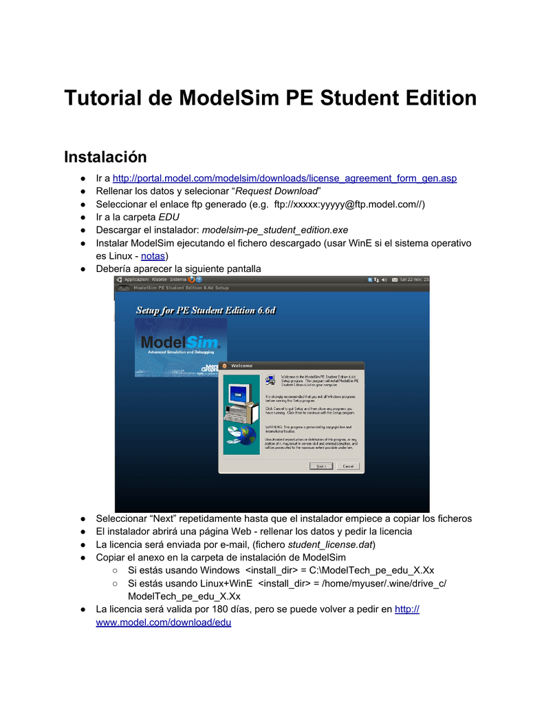 Tutorial de ModelSim PE Student Edition Instalación