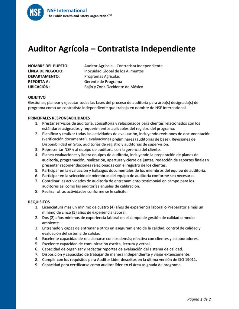 Auditor Agrícola – Contratista Independiente