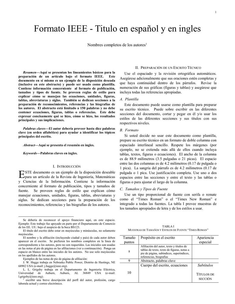 Formato IEEE - Titulo en español y en ingles