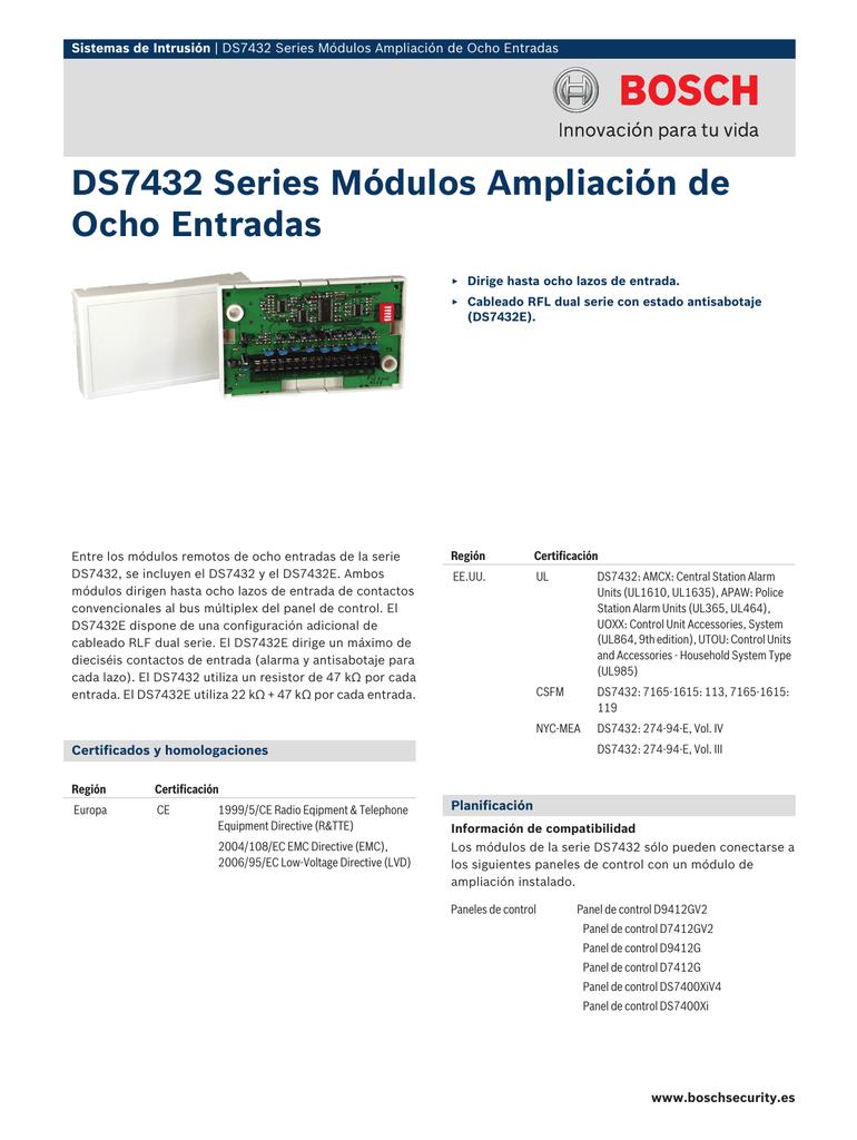 Ds7432 Series Módulos Ampliación De Ocho Entradas