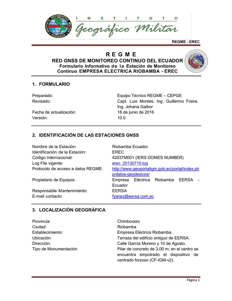 Ficha técnica descriptiva de la Estación ERSA Riobamba -EREC