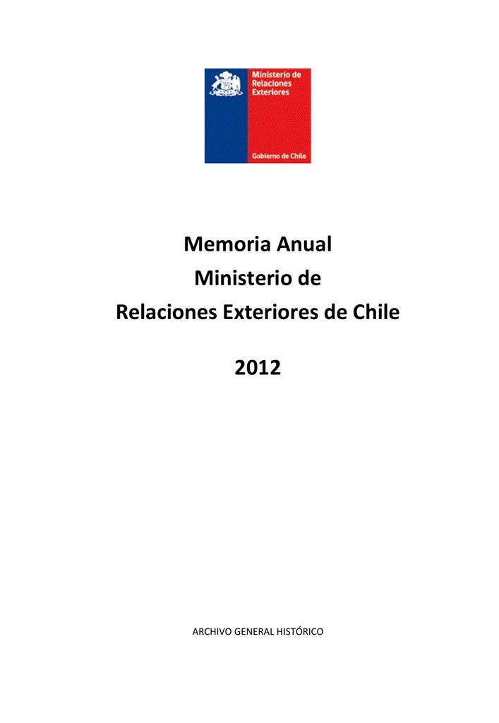 Memoria del Ministerio de Relaciones Exteriores de Chile. Año 2012