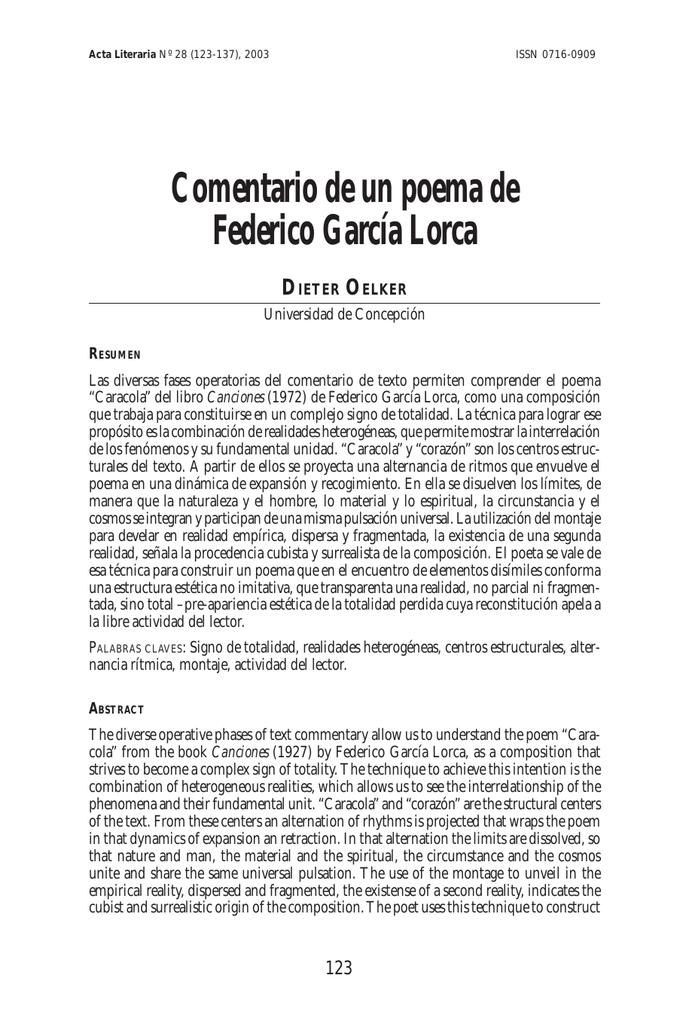 Comentario De Un Poema De Federico García Lorca