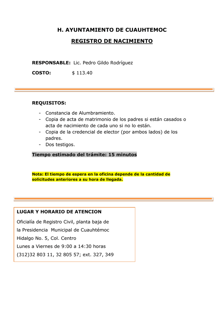 H. AYUNTAMIENTO DE CUAUHTEMOC REGISTRO DE NACIMIENTO