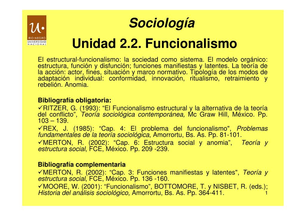 Unidad 2 2 Funcionalismo Sociología