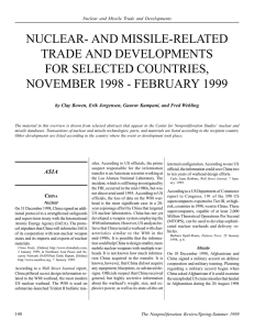 and Missile-Related Trade and Developments for Selected Countries