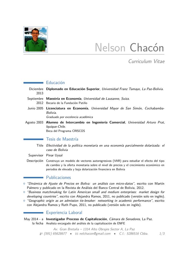 Nelson Chacon Curriculum Vitae