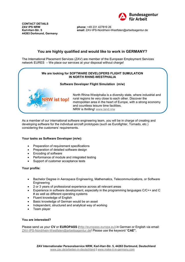 You are highly qualified and would like to work in GERMANY?
