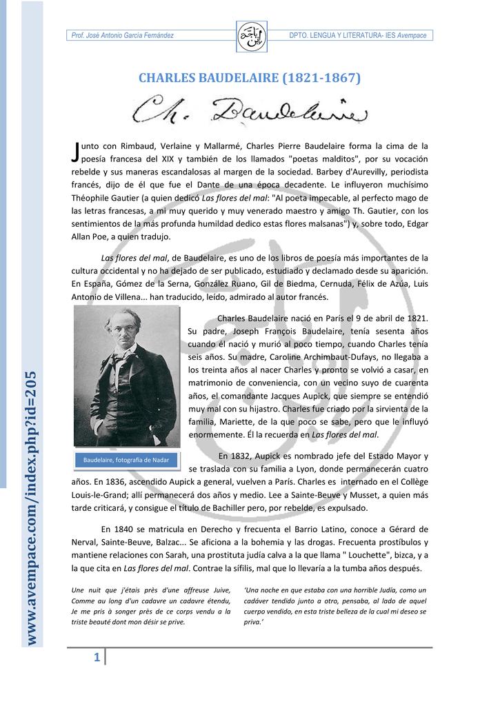 Biografía De Baudelaire 1