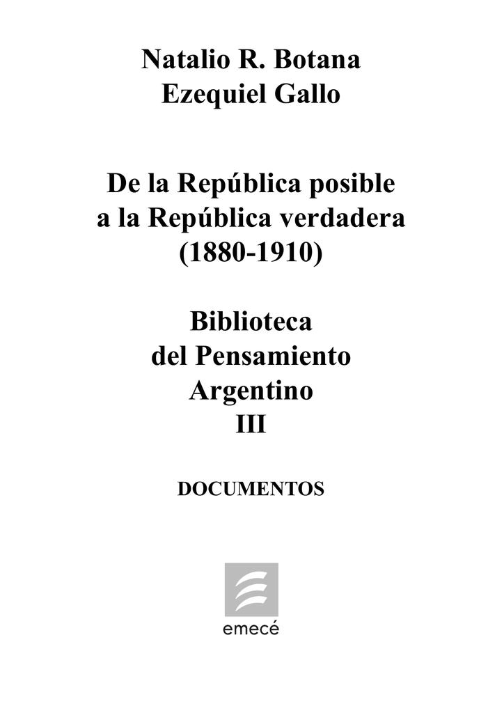 Botana y Gallo - De la Republica posible a la
