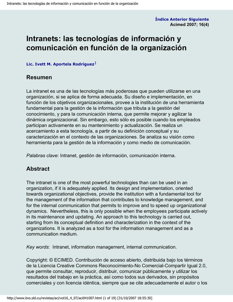 Intranets: las tecnologías de información y comunicación en función