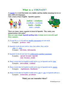What is a COGNATE? - Printable Spanish
