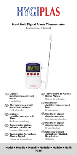 Hand Held Digital Alarm Thermometer Instruction Manual