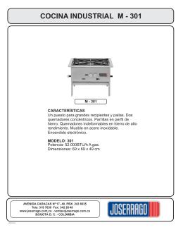 Quemadores for Manual de cocina industrial