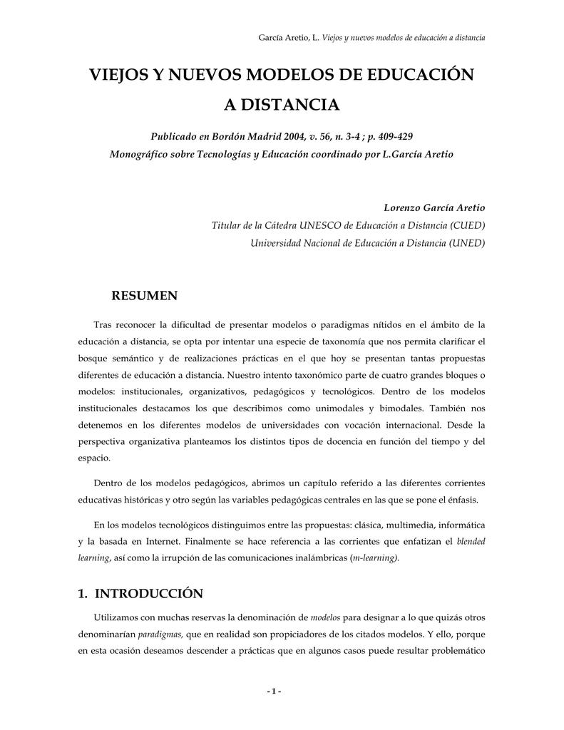 Viejos y nuevos modelos de educación a distancia (PDF