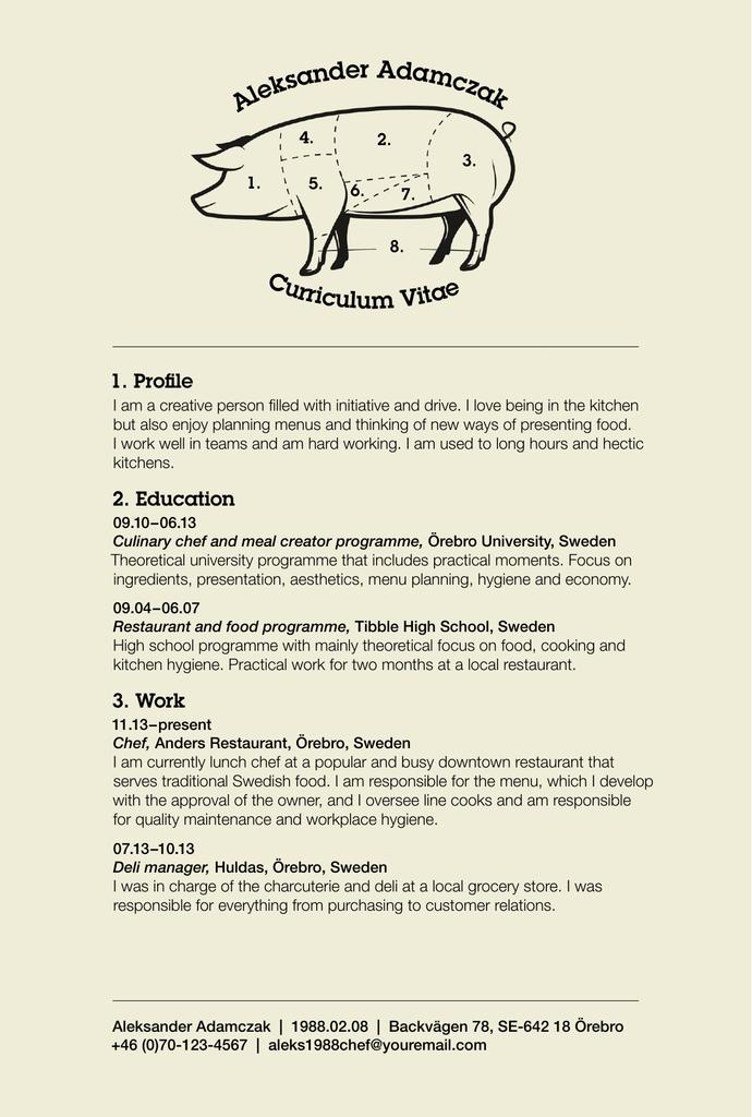 Example CV 1: chef