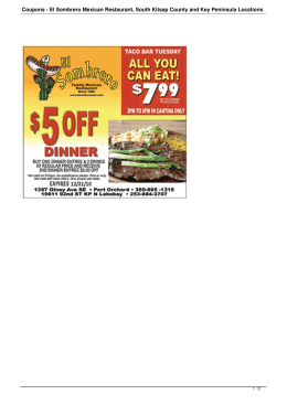 Coupons - El Sombrero Mexican Restaurant, South Kitsap County