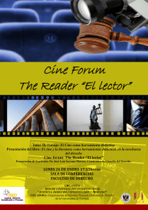 "Cine forum: The Reader ""El lector"" LUNES 26 DE ENERO 17"