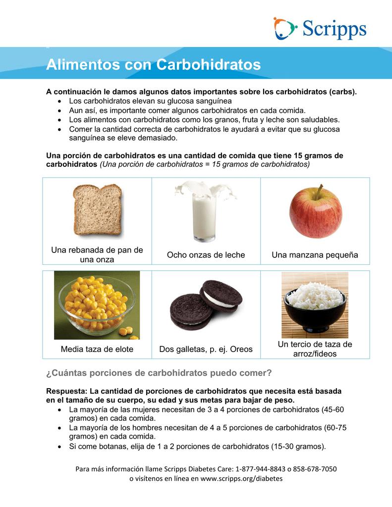 alimentos ricos en carbohidratos para la diabetes