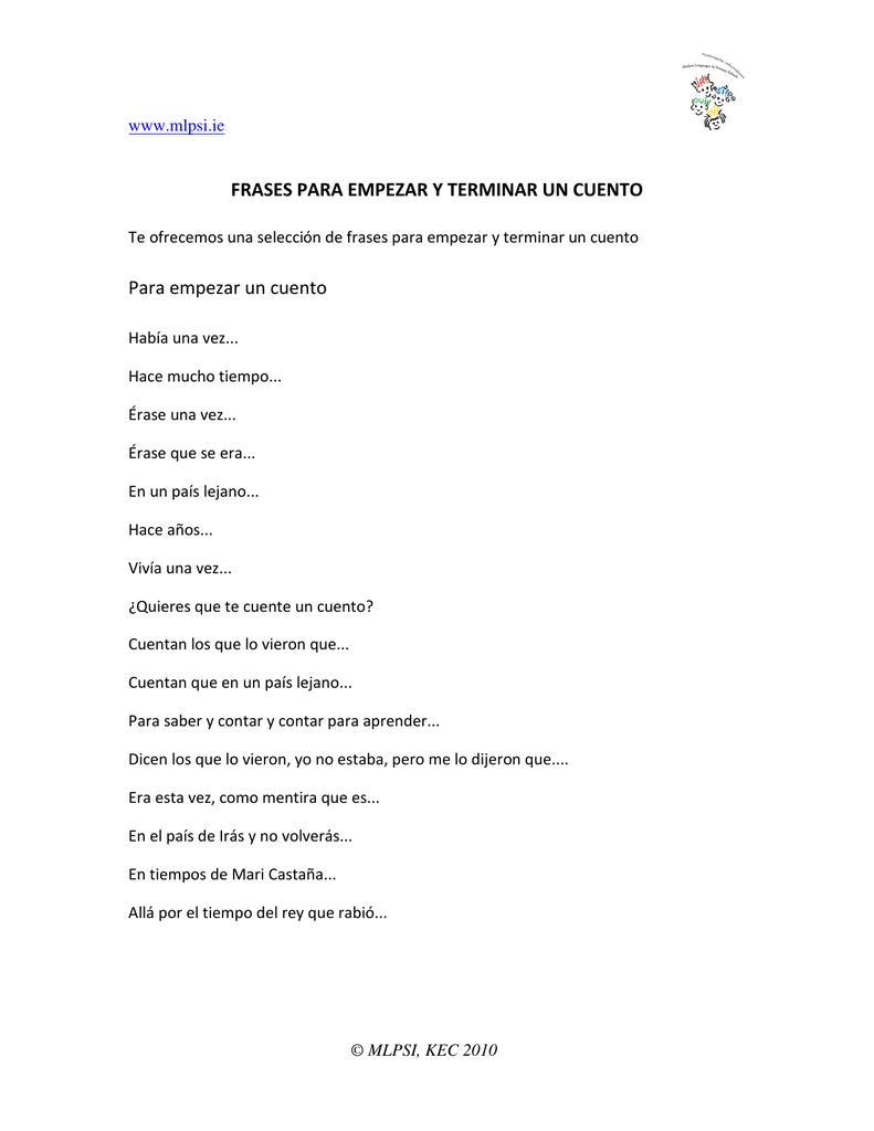 Frases Para Empezar Y Terminar Un Cuento Para
