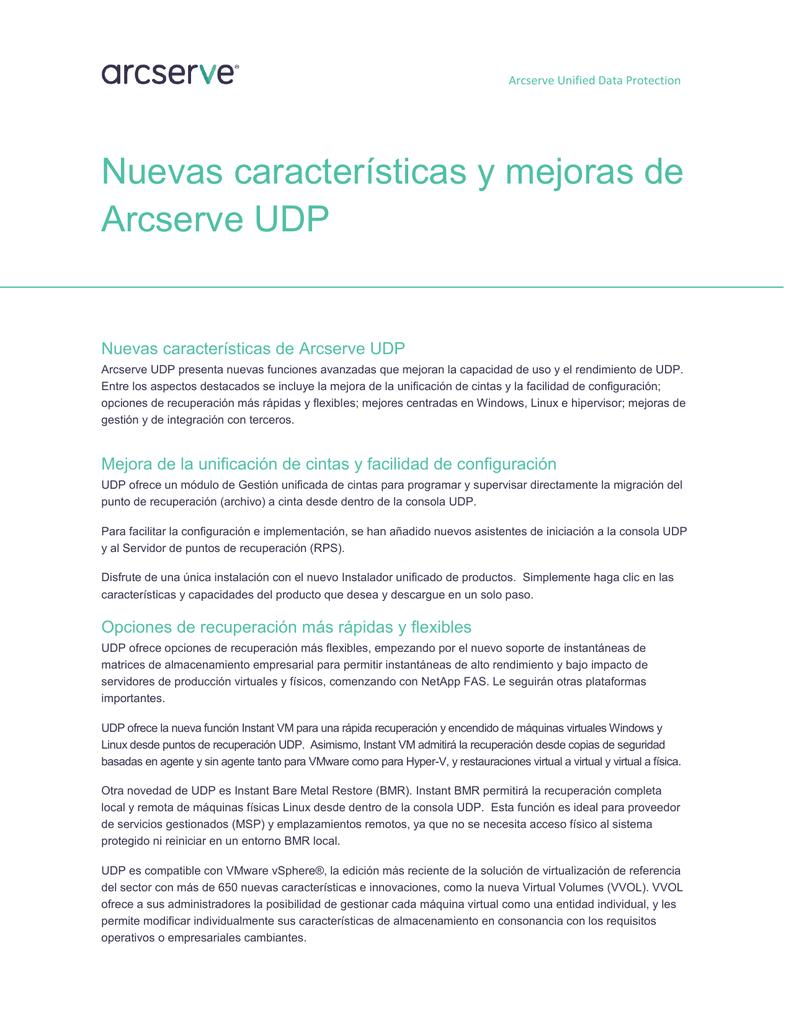 Nuevas características y mejoras de Arcserve UDP