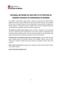 integral network of shelters to attention of gender violence in