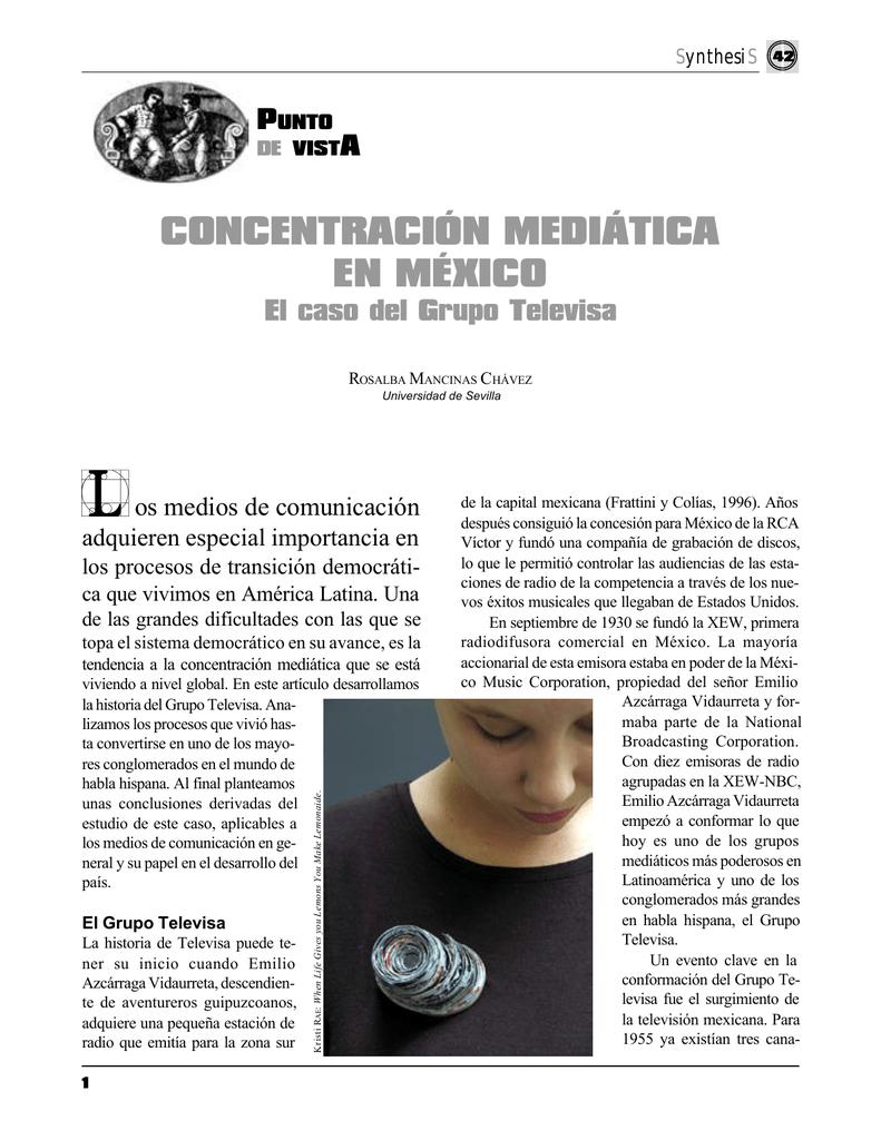 Concentracion Mediatica en Mexico  El caso del Grupo Televisa