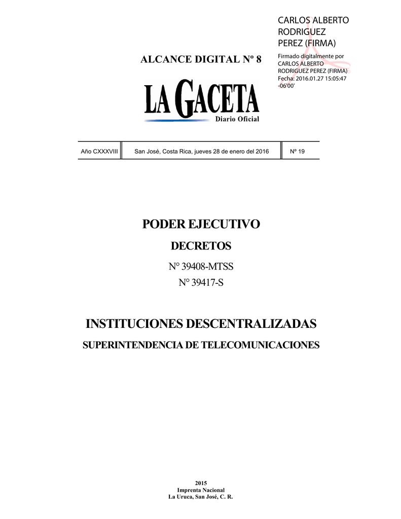 ALCANCE DIGITAL N° 8 a La Gaceta N° 19 de la fecha 28 01 2016