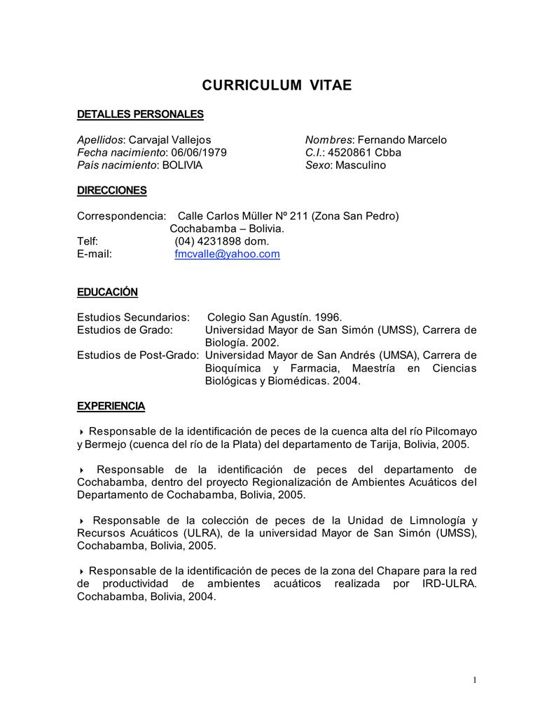 curriculum vitae - Red - Ictiofauna